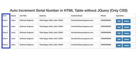 Table Layout Auto Css | auto increment serial number in html table without jquery