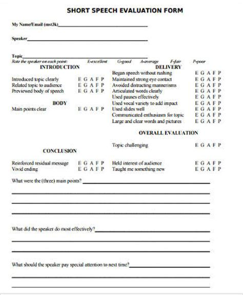 speech evaluation form templates sle speech evaluation forms 9 free documents in word