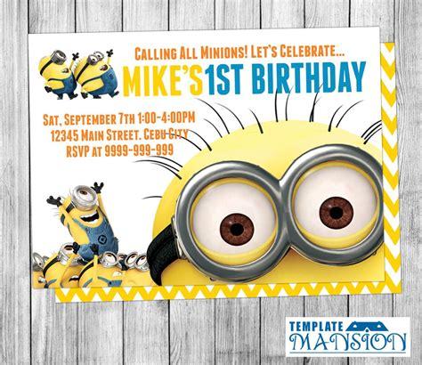 printable birthday cards minions printable minion invitation template life style by