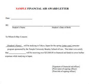 College Award Letter Exles Sle Application Letter For Scholarship Grant
