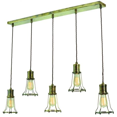 Antique Brass Kitchen Island Lighting 5 Light Mutiple Pendant Breakfast Bar Light With Metal Cage Shades