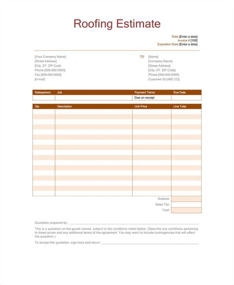 11 Roofing Estimate Templates Pdf Doc Free Premium Templates Roofing Templates Free