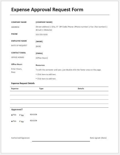 Request Letter For Approval Exle expense approval request forms ms word word excel templates