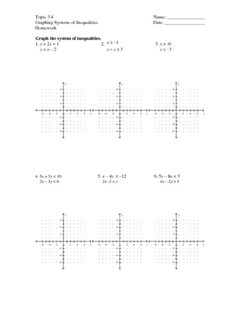 Graphing Systems Of Linear Inequalities Worksheet Answers by Systems Of Inequalities Worksheet Lesupercoin Printables