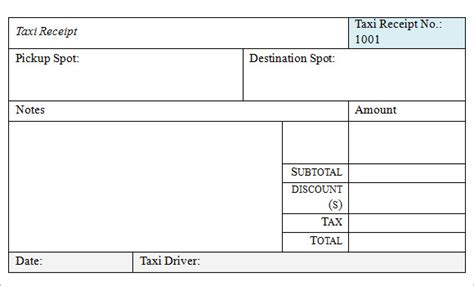 receipt template taxi printable taxi receipt form template images