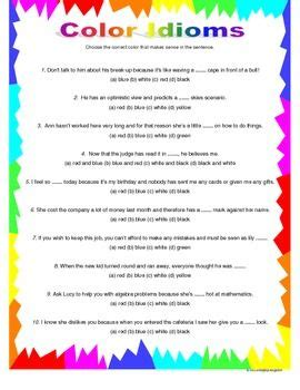 color idioms figurative language color idioms
