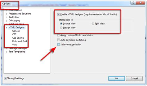 design html visual studio 2013 set default to source view design view or split view