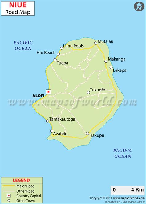 niue on world map niue road map