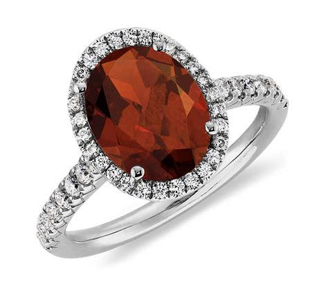 garnet and ring in 18k white gold 10x8mm blue nile