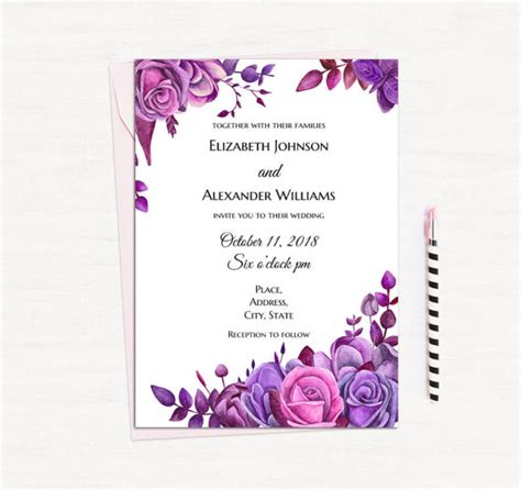 printable wedding invitation lavender purple roses invitation template floral wedding invitation