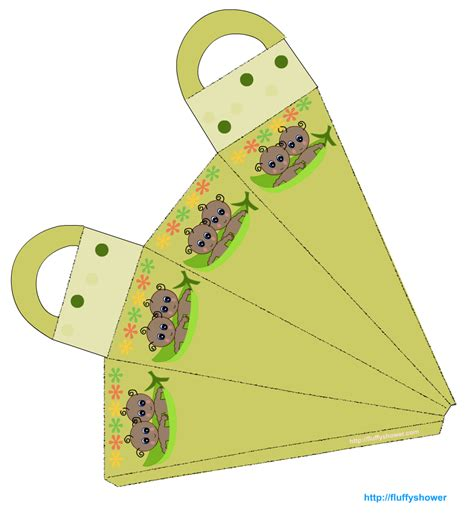 Paper Craft Bag - printable pea pod baby shower favor bags