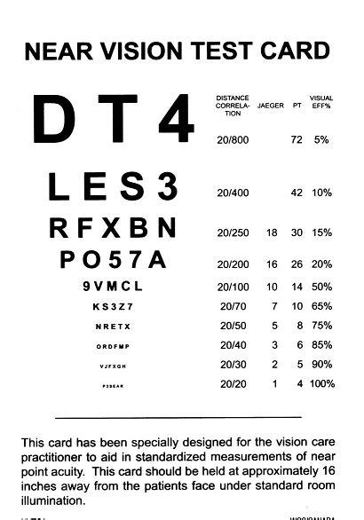 printable eye chart near vision printable near vision test card book covers