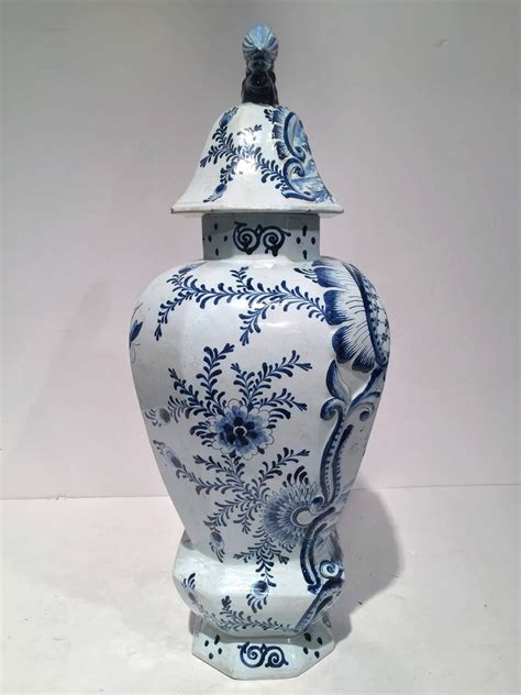 Vases With Lids For Sale Large Vintage Blue And White Delft Vase With Lid For Sale