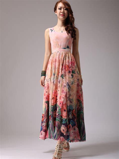New Dress Flower Maxy 2 By floral print chiffon maxi dress milanoo