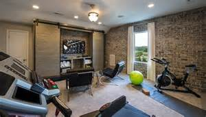 At Home Living Room Workout Industrial Cave And Exercise Room With Exposed Brick