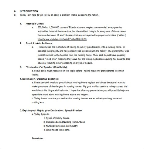 template for a speech persuasive speech outline template 9 free sle