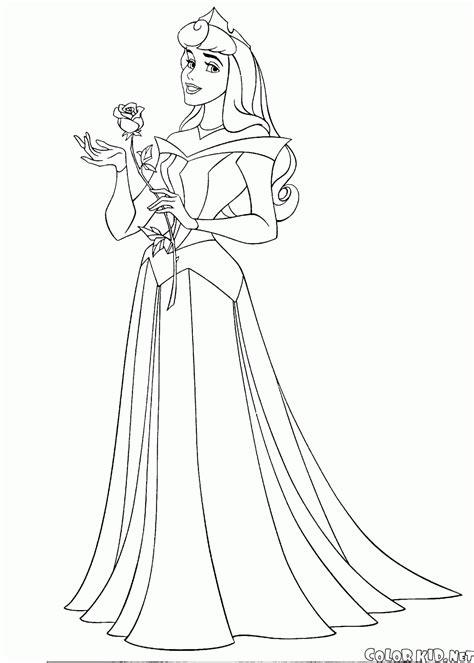 coloring page princess aurora and fairies