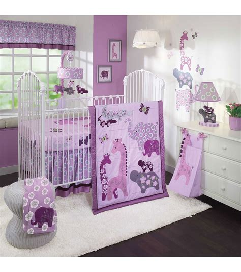 lambs and ivy crib bedding lambs ivy lavender jungle 4 piece crib bedding set