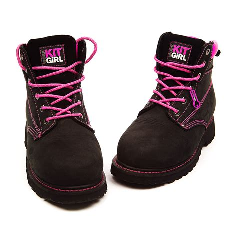 Boots Pink Black s safety work boots black pink work kit