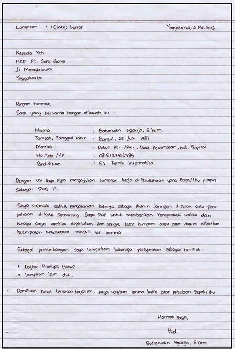 Tulisan Di Map Lamaran Kerja by Surat Lamaran Pekerjaan Perawat Gallery Cv