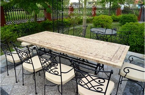 160 200 240cm Italian Mosaic Marble Outdoor Patio Table Wrought Iron   TUSCANY