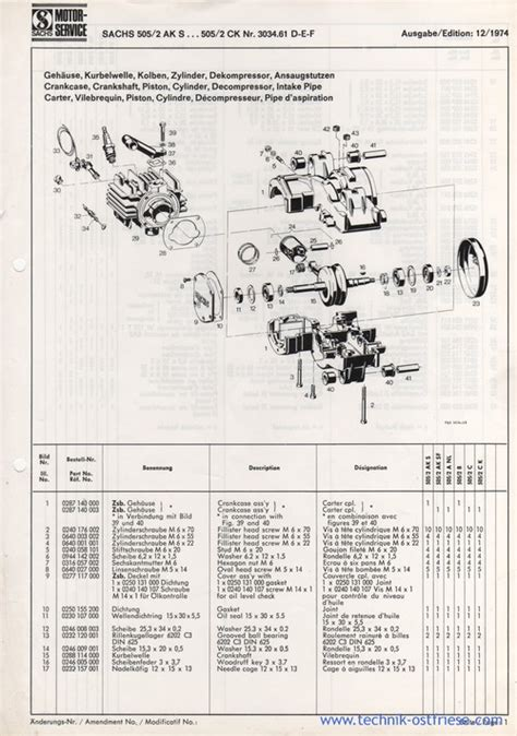 Sachs Motor 505 2bx by Sachs 505 2 Ersatzteile Liste Explosionszeichnung