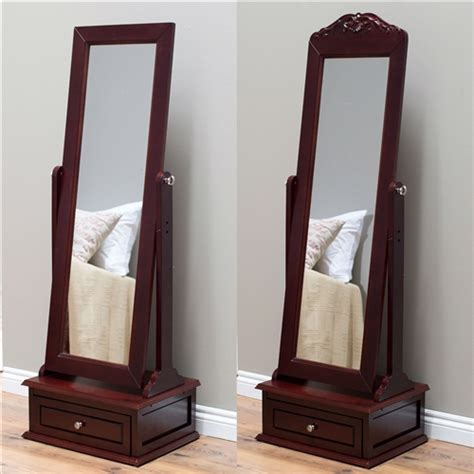 Length Mirror With Drawer by Length Tilting Cheval Mirror In Cherry Wood Finish
