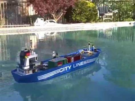 lego boat sinking in pool lego cargo ship on my pool youtube