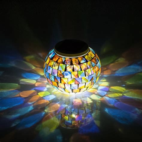 Colored Solar Lights Outdoor Aliexpress Buy Solar Powered Mosaic Glass Garden Lights Color Changing Solar Table