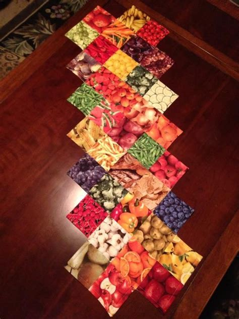 charm pack table runner eat your fruits veggies table runner we fruits veggies charm pack