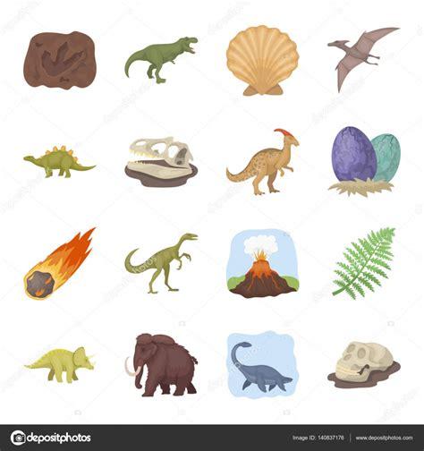 Estilo Set dinosaurios y prehistoricos sets iconos en estilo de