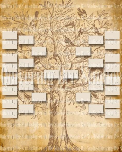 family tree template digital download custom family tree