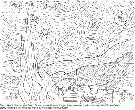 Starry Coloring Page The Starry Night Coloring Page Coloring Home