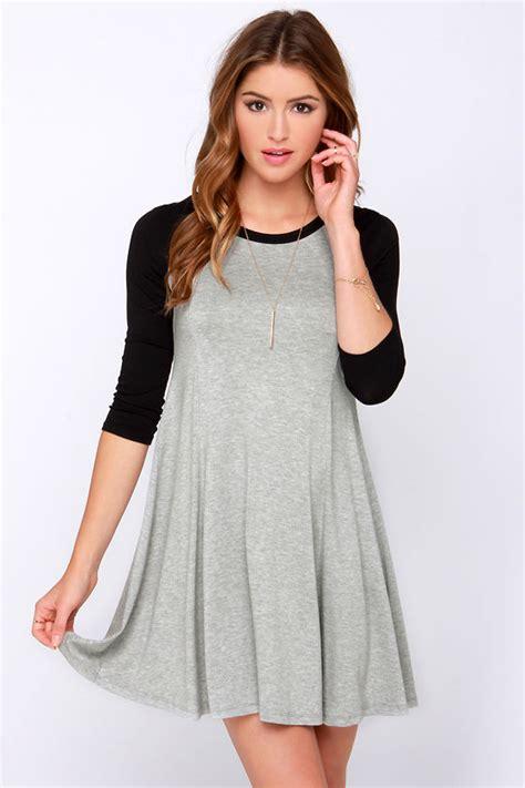 cute swing dresses cute black and grey dress raglan sleeve dress swing