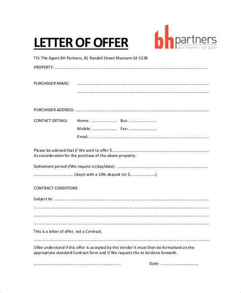 Offer Letter To Purchase 34 Offer Letter Exles Free Word Pdf Documents Free Premium Templates