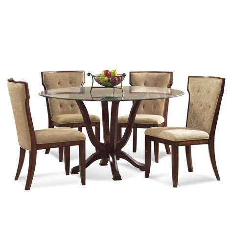 round glass dining room sets bassett mirror serenity 5 piece round glass pedestal dining room set beyond stores