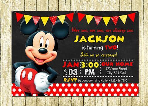 mickey mouse birthday invitation wording mickey mouse printed chalkboard birthday invitations ebay