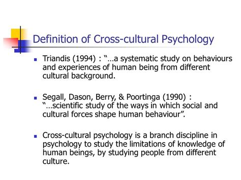 cultural background definition week 1 introduction to cross cultural psychology ppt