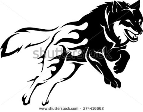 abstract flame leaping wolf stock vector 274416662