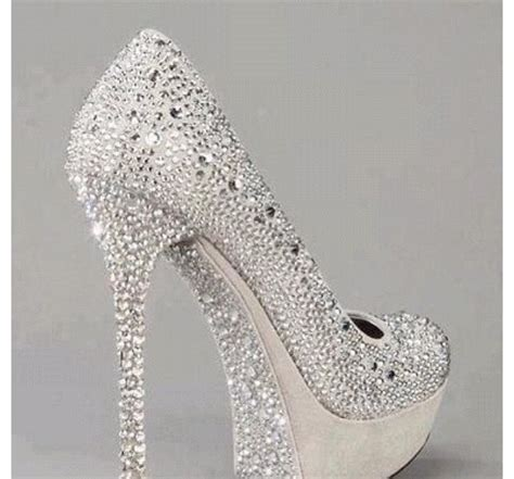 prom shoes sparkly silver pretty high heels shoes
