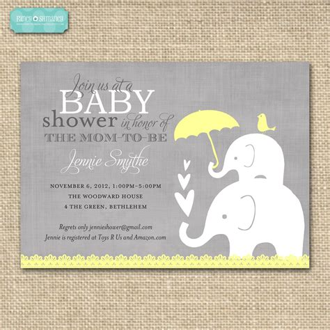 Invites For Baby Shower | baby shower invitation elephant yellow and grey printable