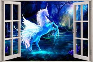 huge 3d window view fantasy unicorn pegasus wall sticker click to enlarge image