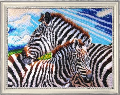 bead embroidery kits zebras diy bead embroidery kit beaded stitching wall
