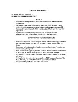 Butler County Juvenile Court Records Motion For Continuance Form For Traffic Court Fill Printable