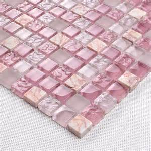 Backsplash Murals - pink glass stone tile mosaic square 3 5 quot frosted glass tiles bravotti com