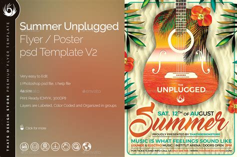 Summer Unplugged Flyer Template V2 By Lou606 Graphicriver Flyer Template V2