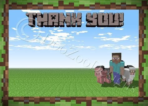 minecraft printable thank you cards minecraft inspired thank you card printable https www
