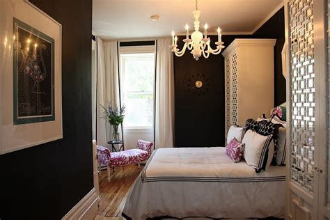 sophisticated pink bedroom black and white drapes design ideas