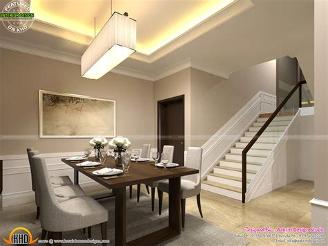 classic style interior design  living room stair area  dining kerala home design  floor plans