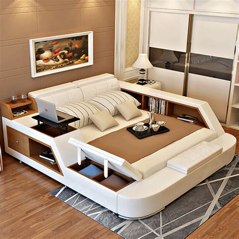 Modern Bed Frame With Storage Modern Leather Size Storage Bed Frame With Storage Bookcase Cabinets Stool No Mattress